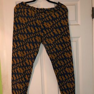 LulaRoe TC horse leggings blue and mustard